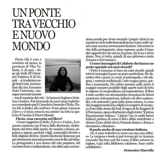 Interview published in L'Ora della Calabria